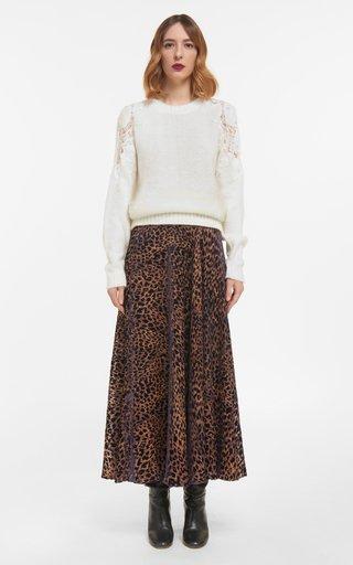 Marilyn Flocked Leopard Velvet Devore A-Line Skirt