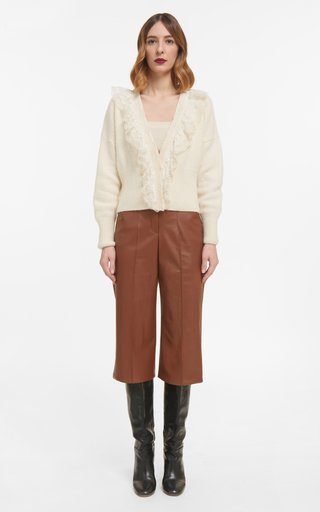 Sadie Mohair Knit Cardigan With Lace Ruffle Trim