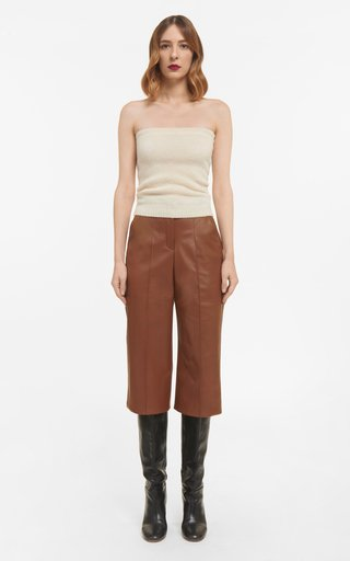 Lorilyn Soft Lamb-Skin Leather Culottes With Pintuck Seams