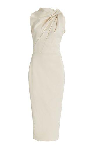 Encouraged Draped Crepe Midi Dress