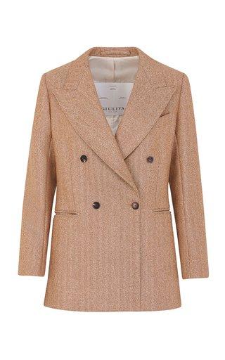 The Stella Wool Rust Herringbone Blazer