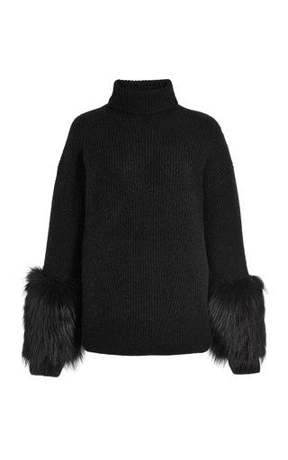 Fur-Trimmed Oversized Cashmere-Silk Turtleneck Sweater