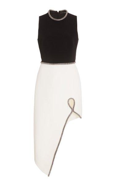 Two-Tone Crystal-Embellished Crepe Midi Dress