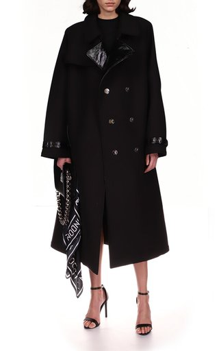 Dk Buttons Patent Leather Lapel Trench Coat