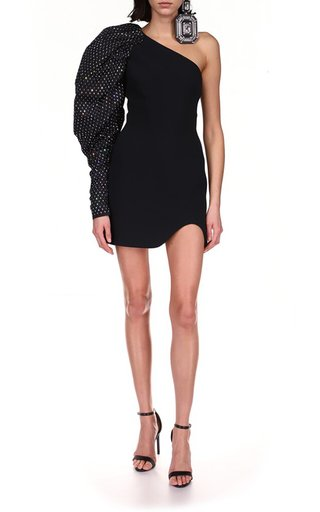 One Shoulder Puffed Crystal Embr Sleeve Mini Dress