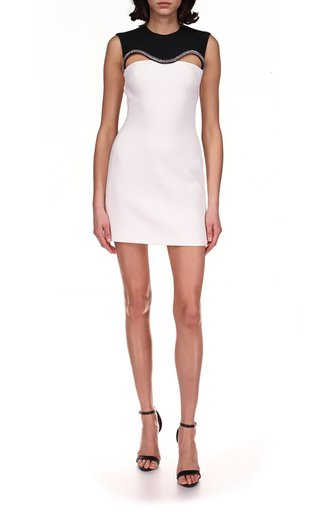 Crystal And Cutouts Contrast Mini Dress