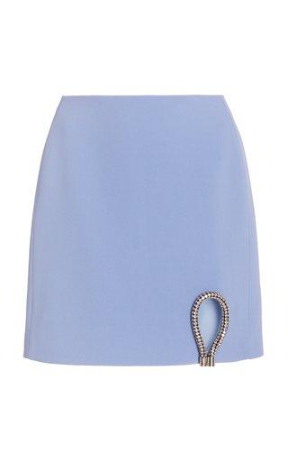 Crystal-Detailed Cutout Crepe Mini Skirt