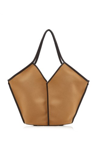 Calella Leather-Trimmed Organic Cotton Tote