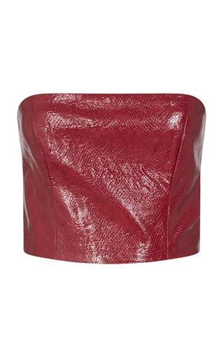Emili Vegan-Leather Strapless Crop Top