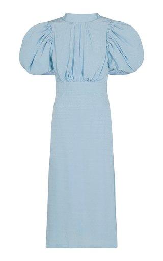 Dawn Puff-Sleeve Jacquard Midi Dress