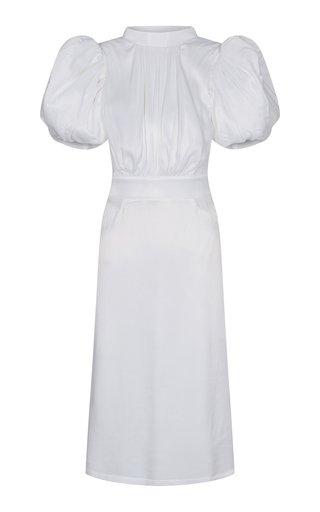Dawn Puff-Sleeve Jersey Midi Dress