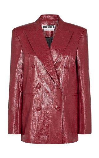 Fox Structured Faux Leather Blazer