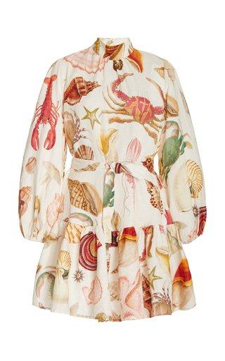 Atlantis Smocked Printed Linen Mini Dress