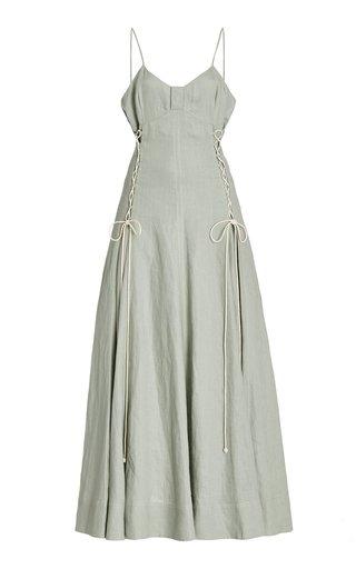 Ivy Lace-Up Linen Maxi Dress
