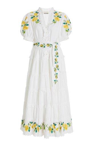 Rosa Embroidered Linen-Cotton Maxi Dress
