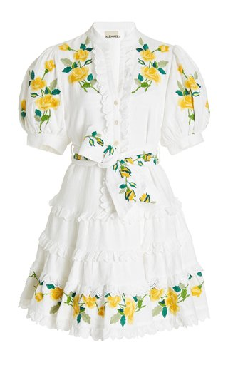 Rosa Embroidered Linen-Cotton Mini Dress