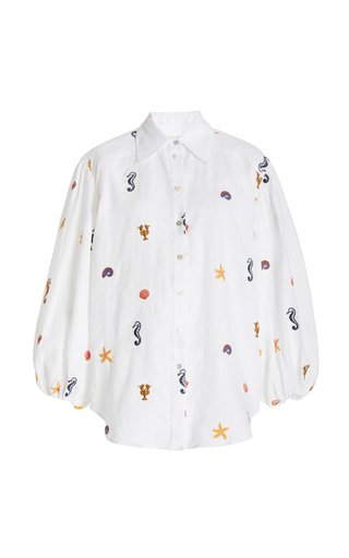 Under The Sea Embroidered Linen Shirt