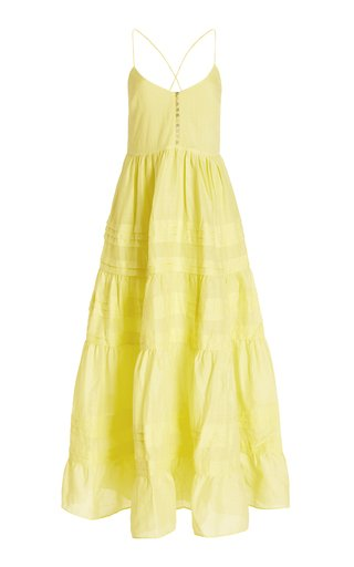 Fluer Tiered Ramie Midi Dress