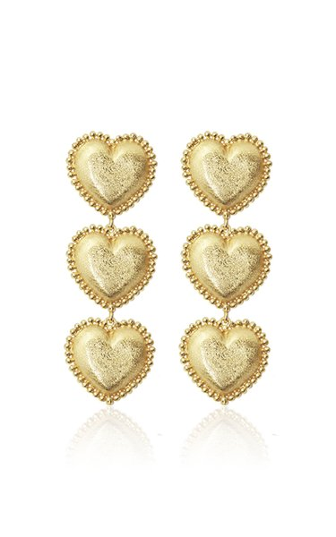 18K Yellow Gold Stout Chunky Triple Heart Earring