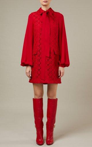 Collared Macrame Mini Dress