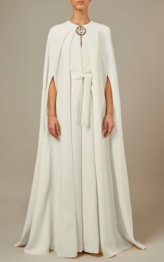 Draped Belted Crepe Jumpsuit