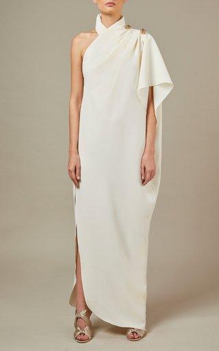 Twist-Detail Side Slit Crepe Dress