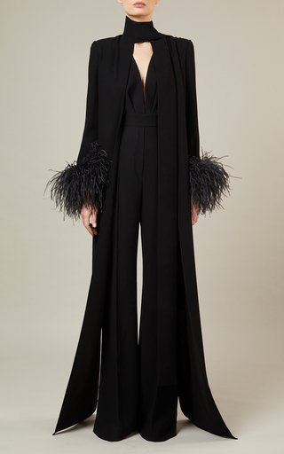 Feather-Detailed Crepe Jumpsuit