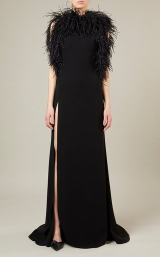 Feather-Detailed Silk Crepe Dress