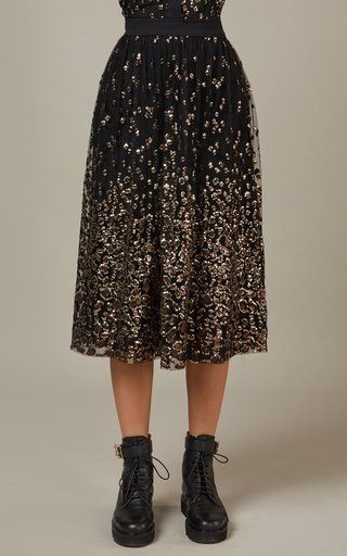 Embroidered Tulle Midi Skirt