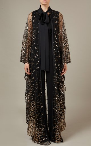 Embroidered Longline Tulle Cape