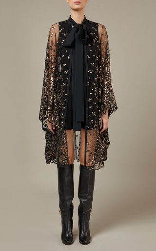 Embroidered Tulle Cape