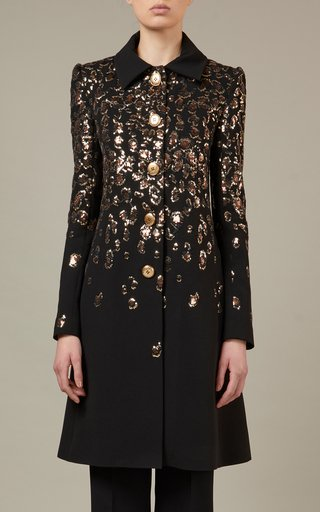 Embroidered Crepe Coat