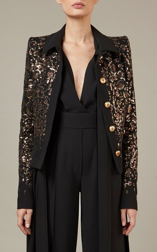 Embroidered Crepe Jacket