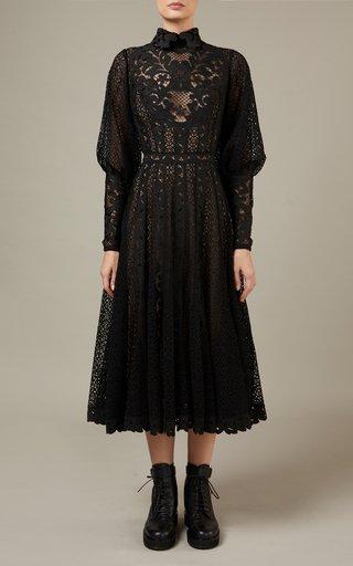 Bow-Detailed Macrame Midi Dress