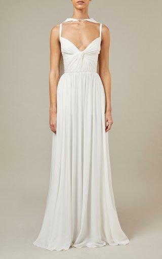 Cape-Detailed Silk Maxi Dress