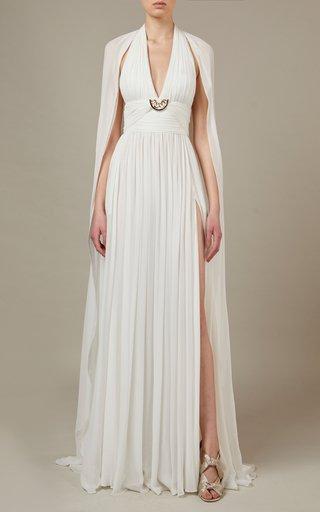 Leg-Slit Silk Maxi Dress