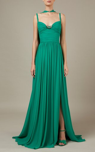 Pleated Cape-Detailed Silk Dress