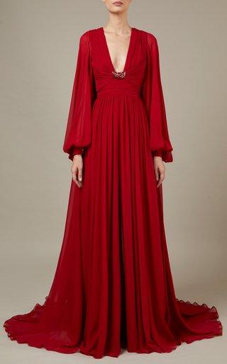 Side-Slit Silk Maxi Dress