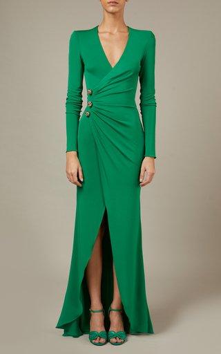 Button-Detailed Jersey Maxi Dress