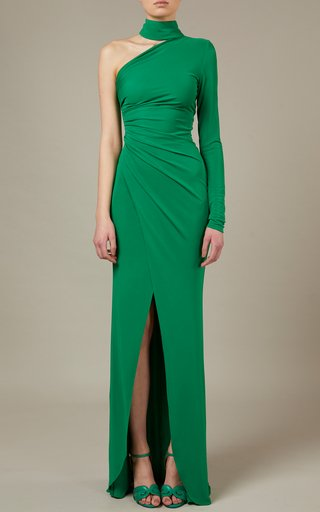 Draped Scarf-Detailed Jersey Maxi Dress