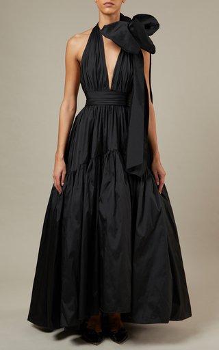 Tie-Detailed Taffeta Maxi Dress