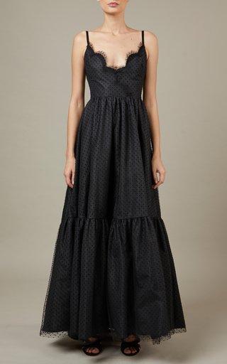Belted Taffeta Maxi Dress