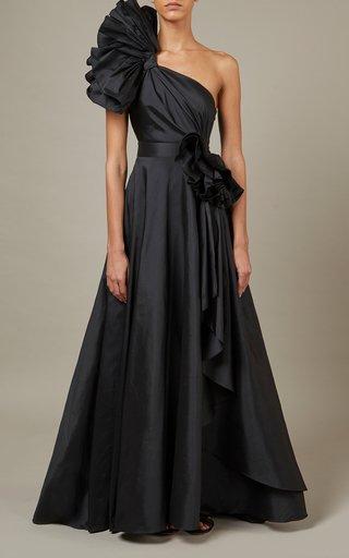 Asymmetric Taffeta Maxi Dress