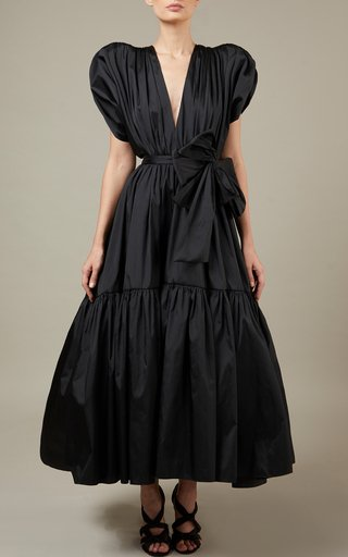 Tie-Detailed Taffetta Midi Dress