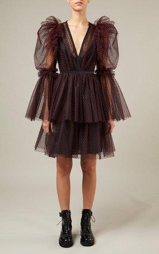 Flocked Tiered Tulle Mini Dress