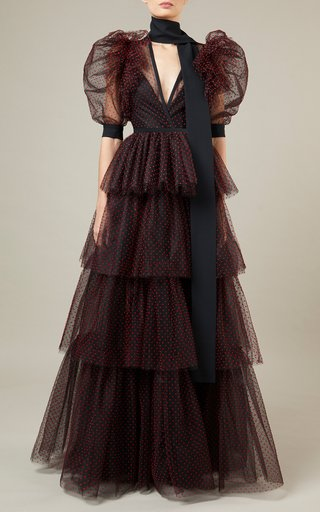 Tiered Flocked Tulle Maxi Dress