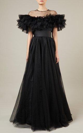Flocked Tulle Maxi Dress