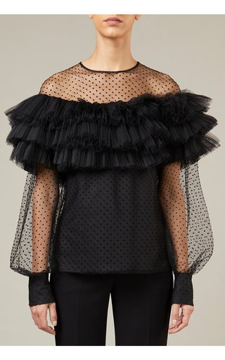 Flocked Tulle Top