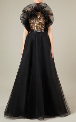 Bead-Embroidered Tulle Maxi Dress