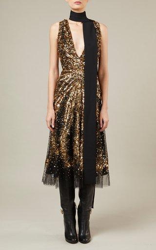 Bead-Embroidered Tulle Midi Dress